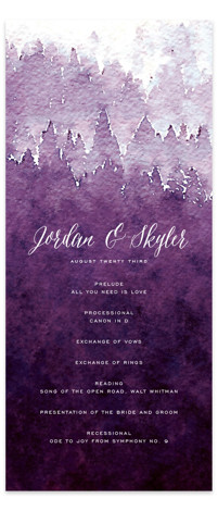 This is a portrait illustrative, painterly, rustic, purple, white, grey Wedding Programs by Design Lotus called Mountain Retreat with Standard printing on Signature in Classic Flat Card format. Share the details of your wedding ceremony with a beautiful wedding program ...