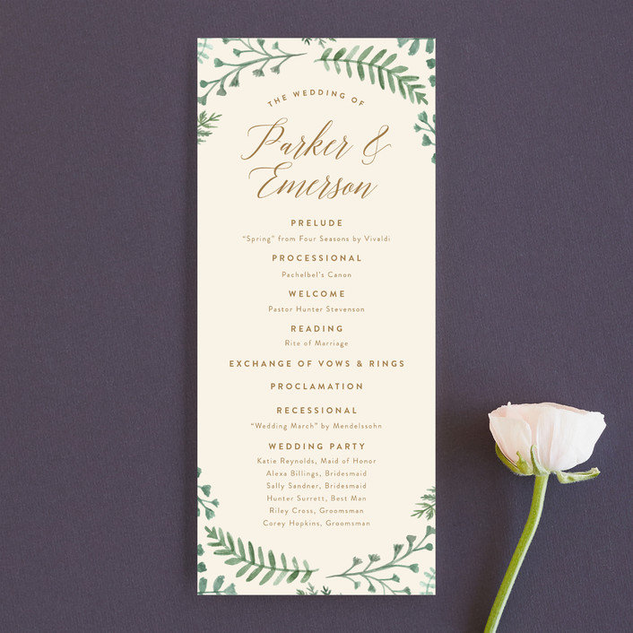 """Painted Ferns"" - Unique Wedding Programs in Cream by Amy Kross."