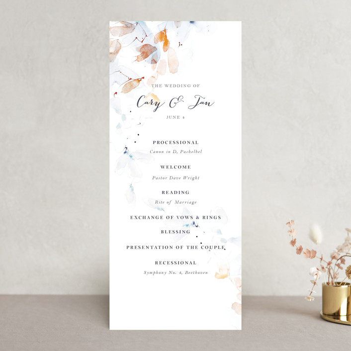 """Petale"" - Unique Wedding Programs in Blush by Kelly Ventura."