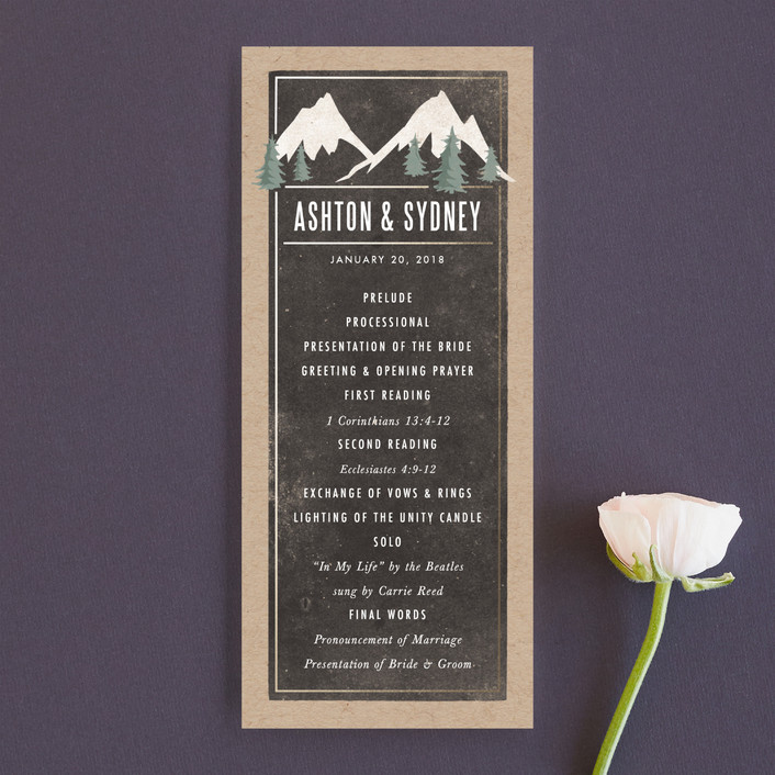 """""""Rustic Mountain"""" - Rustic, Destination Unique Wedding Programs in Charcoal by Karidy Walker."""