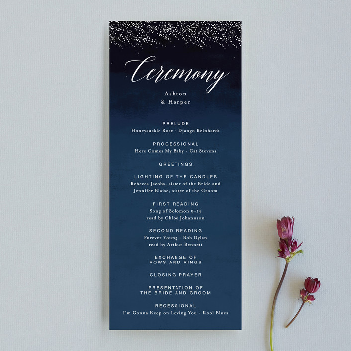 """""""Shimmering Trees"""" - Modern, Simple Unique Wedding Programs in Midnight by Kelly Schmidt."""