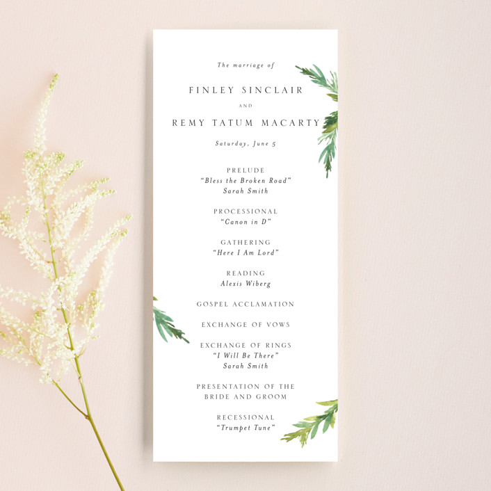 """Simple Pine Branches"" - Rustic Unique Wedding Programs in Vanilla by Mere Paper."
