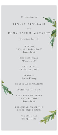 This is a portrait botanical, illustrative, rustic, simple and minimalist, grey Wedding Programs by Mere Paper called Simple Pine Branches with Standard printing on Signature in Classic Flat Card format. Share the details of your wedding ceremony with a beautiful ...