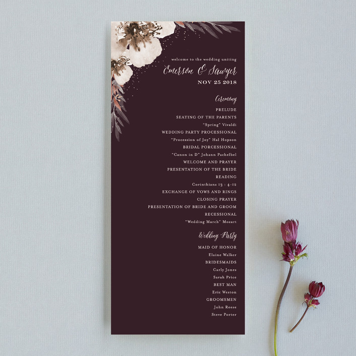 """""""Vivid Blooms"""" - Floral & Botanical Unique Wedding Programs in Dusk by Grace Kreinbrink."""