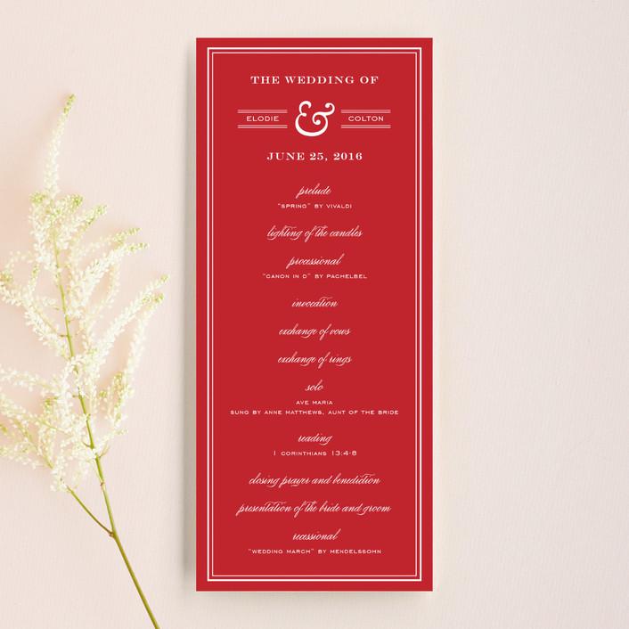 """Country Club"" - Simple, Preppy Unique Wedding Programs in Ruby by annie clark."