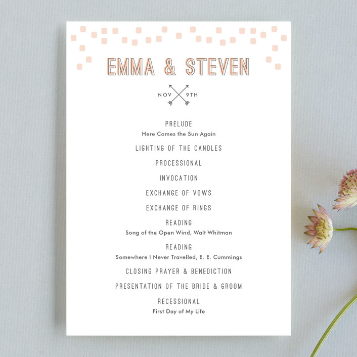 """""""Arrowhead Pastels"""" - Modern, Whimsical & Funny Unique Wedding Programs in Cotton by Stacey Meacham."""