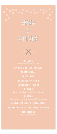 This is a portrait modern, whimsical, pink Wedding Programs by Stacey Meacham called Arrowhead Pastels with Standard printing on Signature in Classic Flat Card format. Share the details of your wedding ceremony with a beautiful wedding program printed on luxe ...