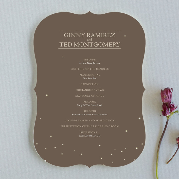 """Fireflies"" - Rustic Wedding Programs in Zuni Brown by Paige Rothhaar."