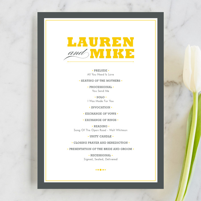 """Cocktail Hour"" - Simple, Bold typographic Unique Wedding Programs in Corn Yellow by Ariel Rutland."