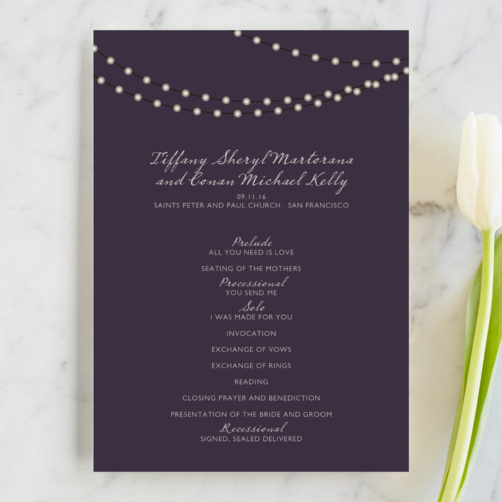 """Midnight Vineyard"" - Modern, Simple Unique Wedding Programs in Deep Eggplant by Design Lotus."