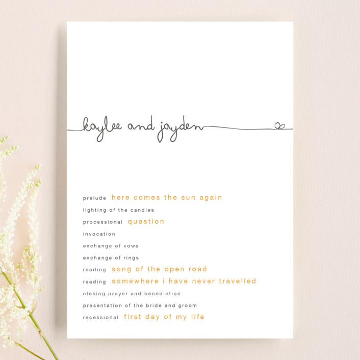 """The Happy Couple"" - Simple, Bold typographic Wedding Programs in Tangerine by R studio."