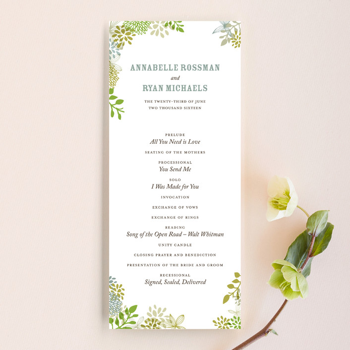 """Fling"" - Hand Drawn, Floral & Botanical Unique Wedding Programs in Clover by Andrea Mentzer."