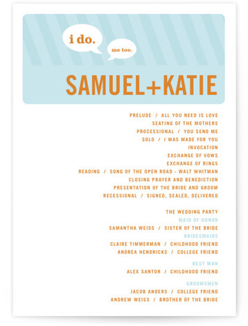 This is a landscape, portrait bold typographic, modern, offbeat, whimsical, blue Wedding Programs by pottsdesign called Smart Conversation with Standard printing on Signature in Classic Flat Card format. Share the details of your wedding ceremony with a beautiful wedding program ...