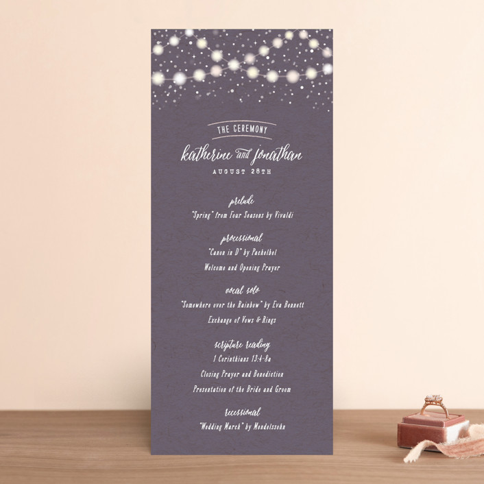 """Garden Lights"" - Rustic Wedding Programs in Plum by Hooray Creative."