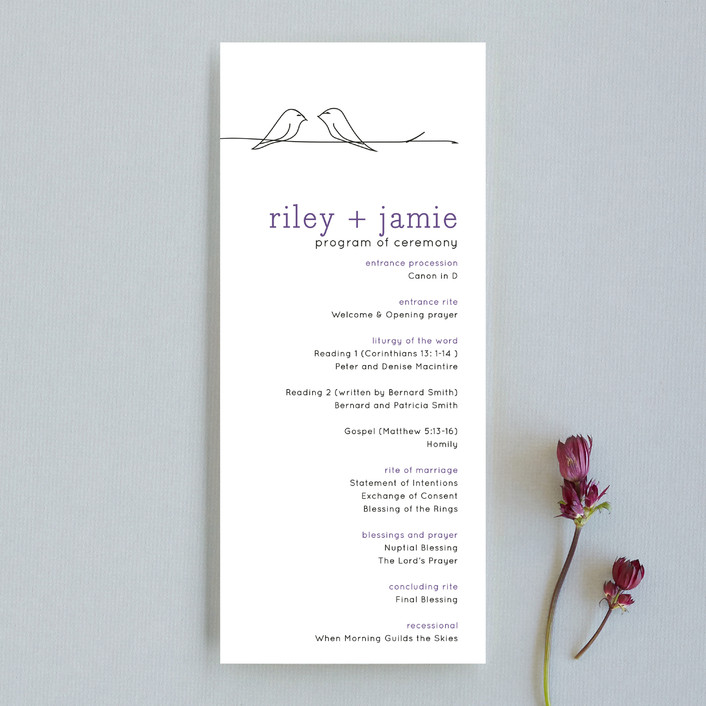 """Birds of a Feather"" - Whimsical & Funny Unique Wedding Programs in Plum by R studio."