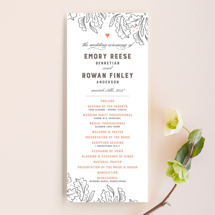 """Fairytale Frame"" - Rustic Unique Wedding Programs in Woodland Fog by Paper Raven Co.."
