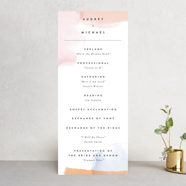 """Watercolor Wisp"" - Wedding Programs in Blush by Ariel Rutland."
