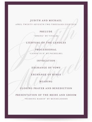 Framed Wedding Programs