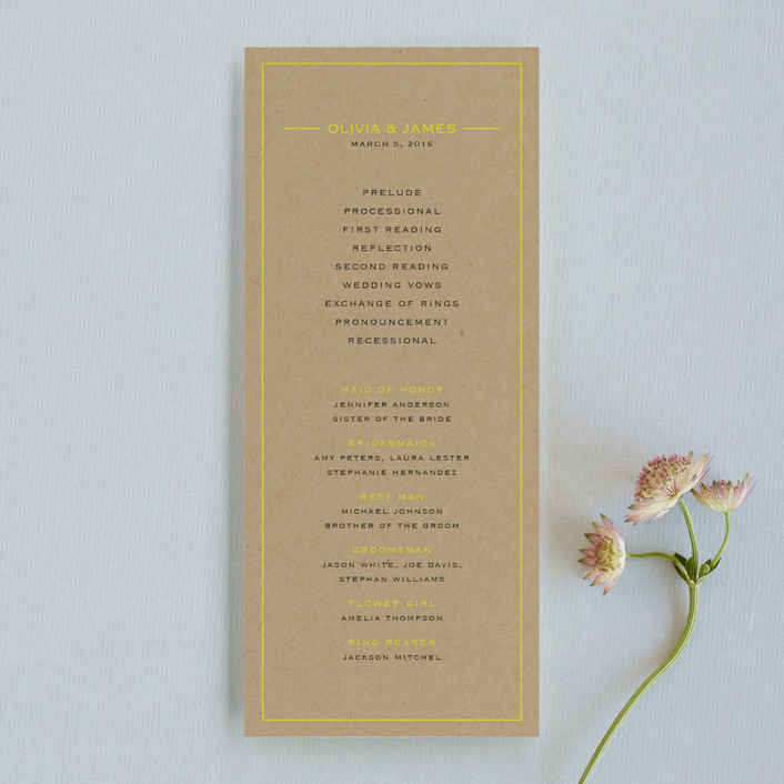 """Vintage Kraft"" - Modern, Simple Unique Wedding Programs in Chartreuse by Waldo Press."