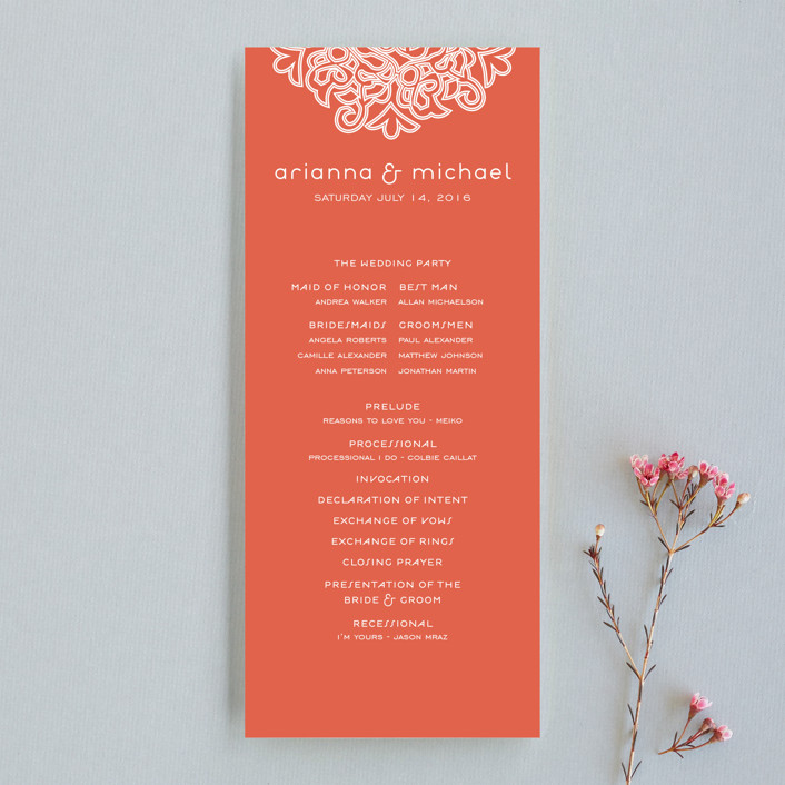 """Love Blossoms"" - Classical Unique Wedding Programs in Persimmon by Guess What Design Studio."