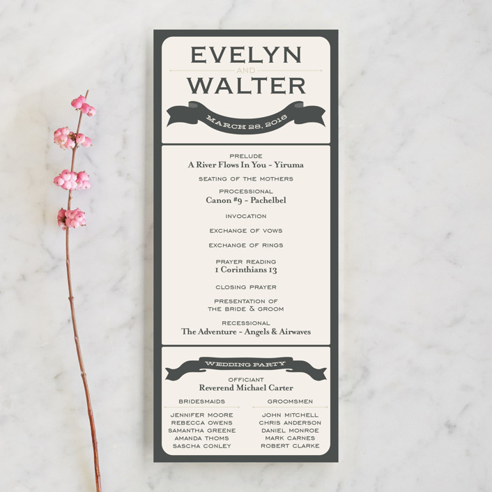 """""""A Blessed Union"""" - Modern, Whimsical & Funny Unique Wedding Programs in Cream by GeekInk Design."""