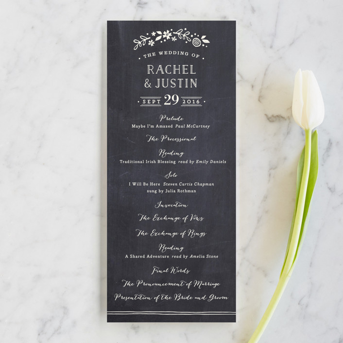 """Alabaster Florals"" - Floral & Botanical, Hand Drawn Wedding Programs in Slate by Jennifer Wick."