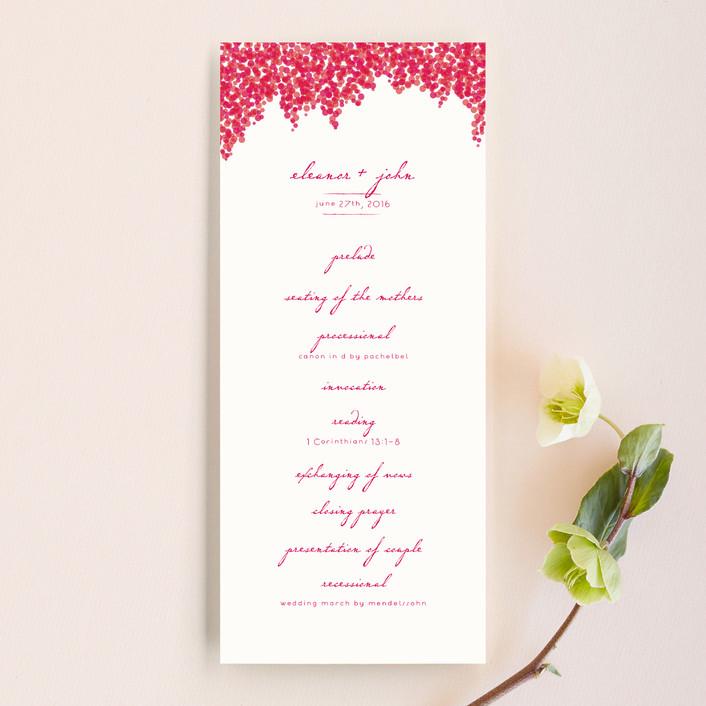 """Bougainvillea"" - Floral & Botanical, Classical Unique Wedding Programs in Bright Fuchsia by Laura Hankins."