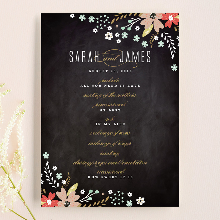 """Chalkboard Floral"" - Floral & Botanical, Rustic Unique Wedding Programs in Peony by Kristie Kern."
