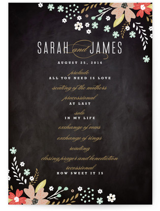 Chalkboard Floral Wedding Programs