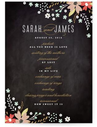 Chalkboard Floral Wedding Programs