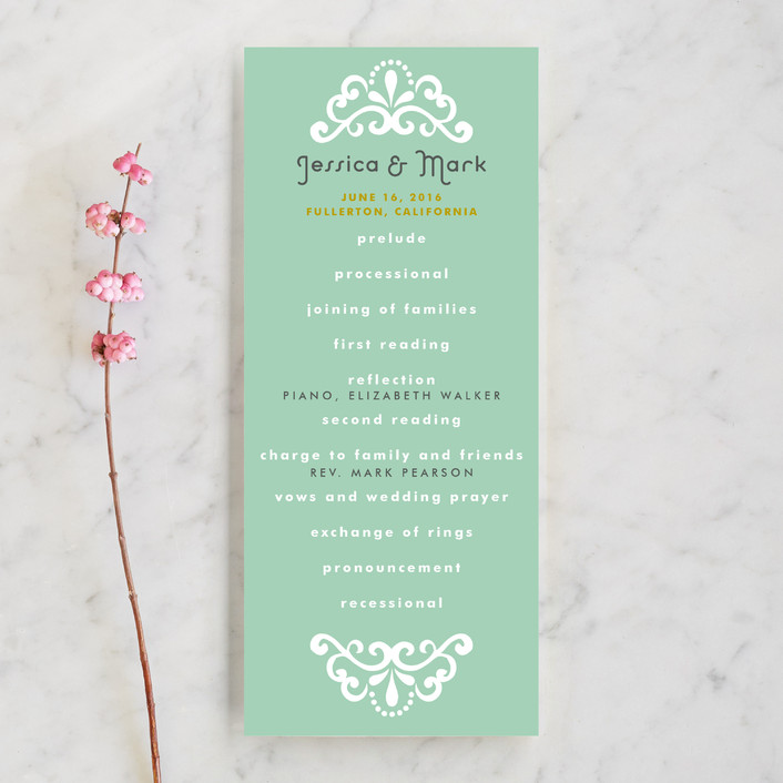 """Floral Frame"" - Floral & Botanical, Rustic Unique Wedding Programs in Mint by Alethea and Ruth."