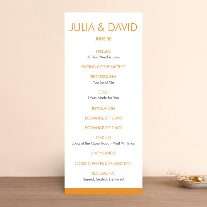 """Minimalist Display"" - Bold typographic, Modern Wedding Programs in Tangerine by Coco and Ellie."