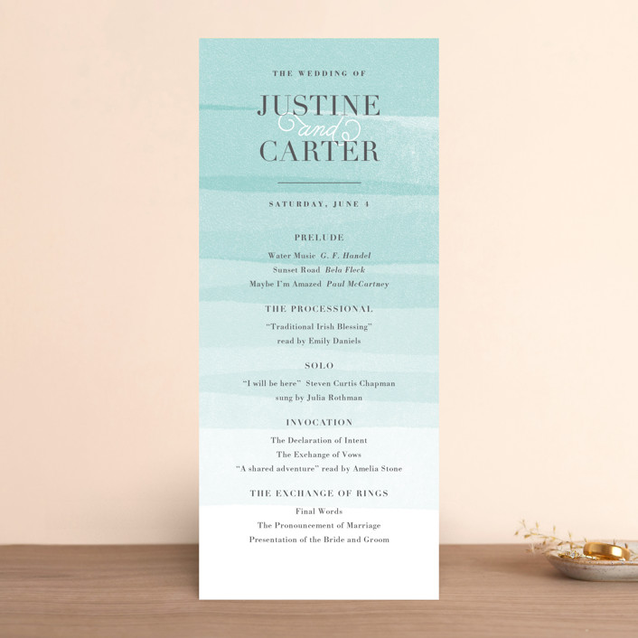 """Old Post Road"" - Beach, Elegant Wedding Programs in Sea Salt by Jennifer Wick."