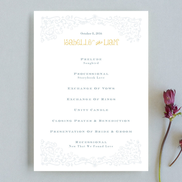 """Once Upon"" - Bold typographic, Hand Drawn Unique Wedding Programs in Sunflower by Erin Pescetto."