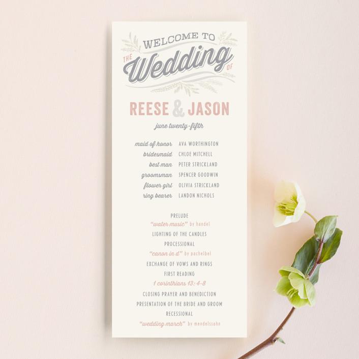 """Rustic Charm"" - Bold typographic, Rustic Wedding Programs in Petal by Hooray Creative."