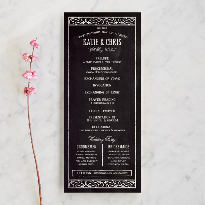 """Slated Forever"" - Bold typographic, Vintage Wedding Programs in Chalkboard by GeekInk Design."