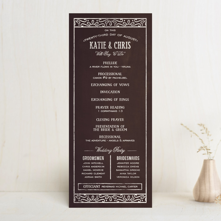 """Slated Forever"" - Bold typographic, Vintage Unique Wedding Programs in Chalkboard by GeekInk Design."