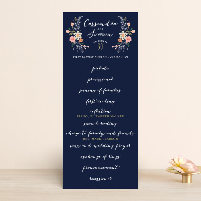 """Wildflower Crest"" - Wedding Programs in Navy by Alethea and Ruth."