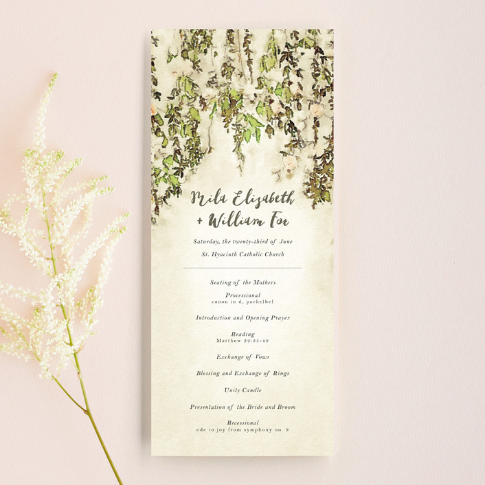 """""""English Countryside"""" - Simple, Rustic Wedding Programs in Moss by Design Lotus."""