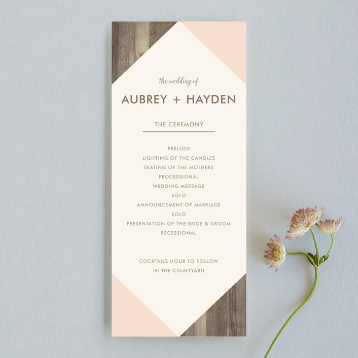 """Modern Barn Wood"" - Rustic Wedding Programs in Rose by Johanna McShan."