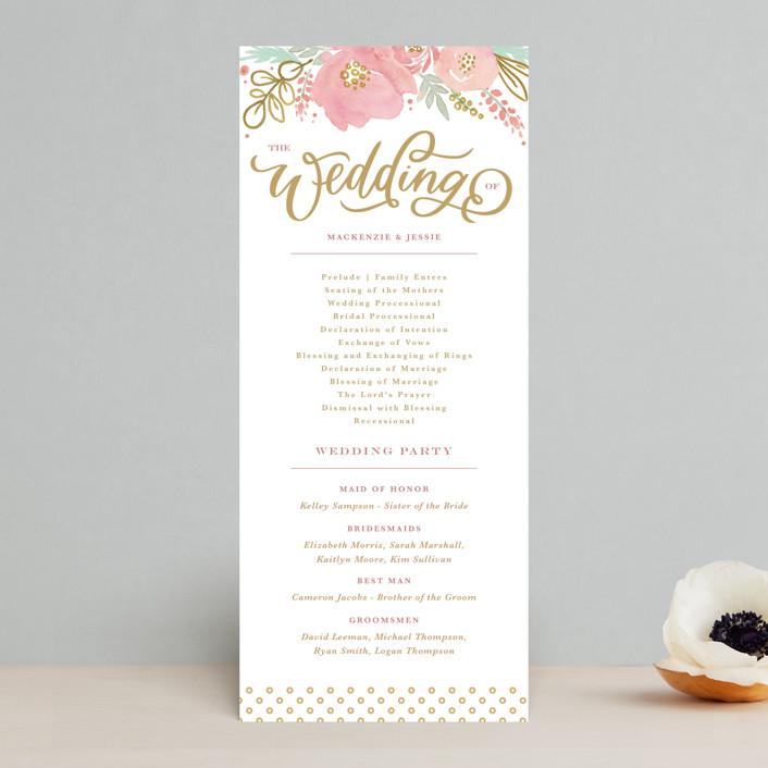 """Floral Vignette"" - Rustic Unique Wedding Programs in Brass by Kristen Smith."