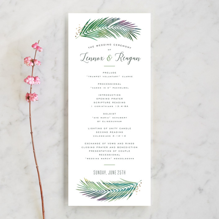 """Tropical Foliage"" - Unique Wedding Programs in Fern by Hooray Creative."