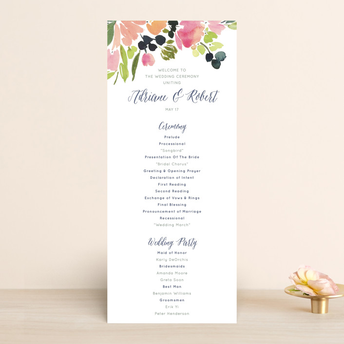 """Watercolor Wreath"" - Floral & Botanical, Whimsical & Funny Unique Wedding Programs in Grapefruit by Yao Cheng Design."