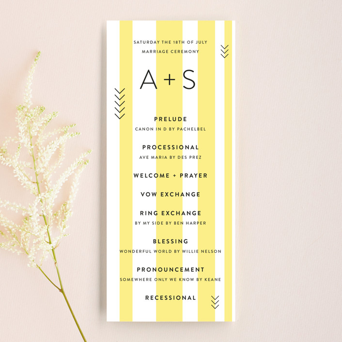 """""""Direction"""" - Modern Wedding Programs in Lemon by Owl and Toad."""