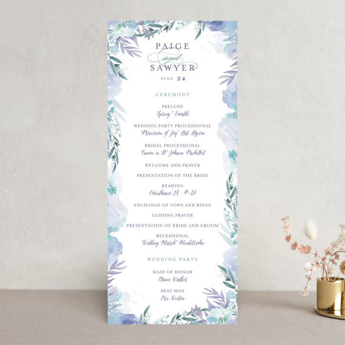 """Big Blooms"" - Unique Wedding Programs in Dew by Grace Kreinbrink."