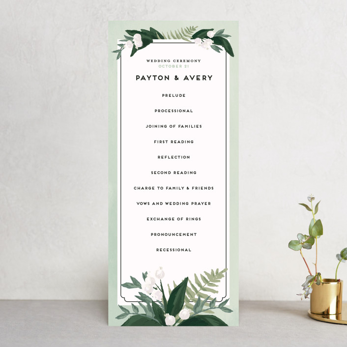 """""""Botanical Name Plate"""" - Floral & Botanical, Rustic Unique Wedding Programs in Sage by Shiny Penny Studio."""