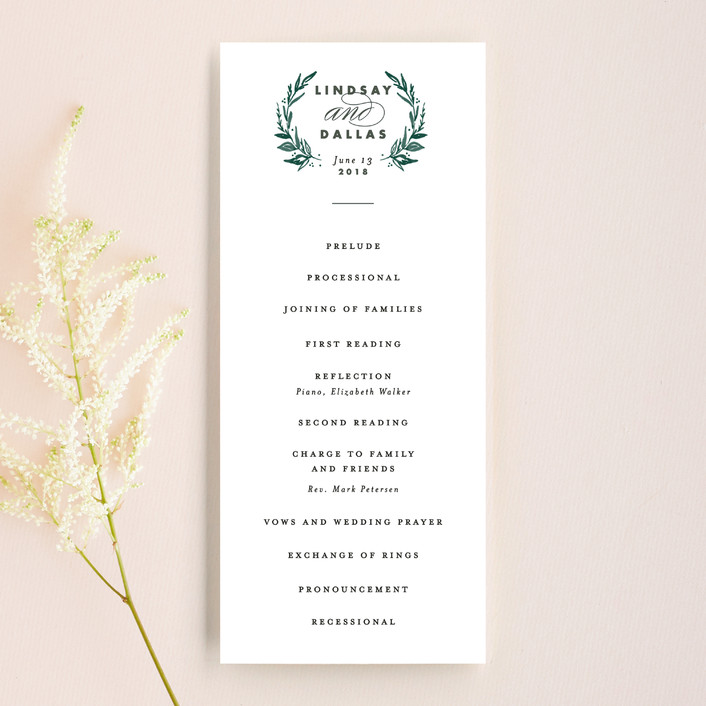"""""""Elegant Crest"""" - Unique Wedding Programs in Forest Green by Alethea and Ruth."""