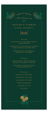 Holiday Wedding Wedding Programs