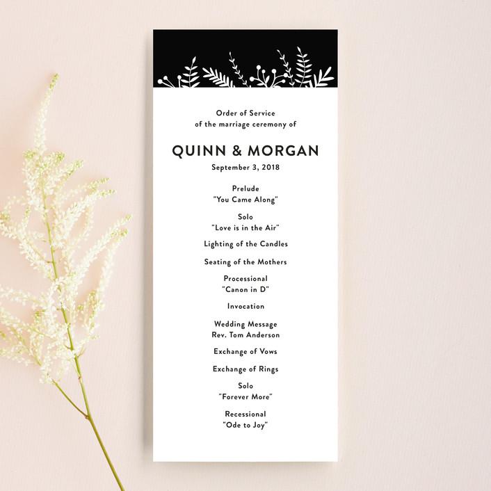 """Leafy Cascade"" - Unique Wedding Programs in Onyx by Katherine Moynagh."