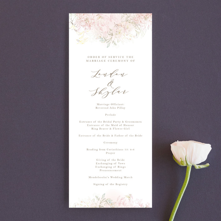 """Pastel Dream"" - Hand Drawn, Floral & Botanical Unique Wedding Programs in Lily by Phrosne Ras."